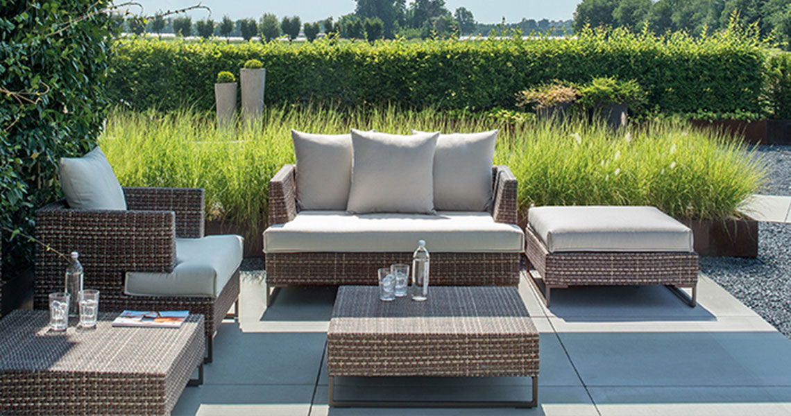 outdoor furniture with fabric cushions